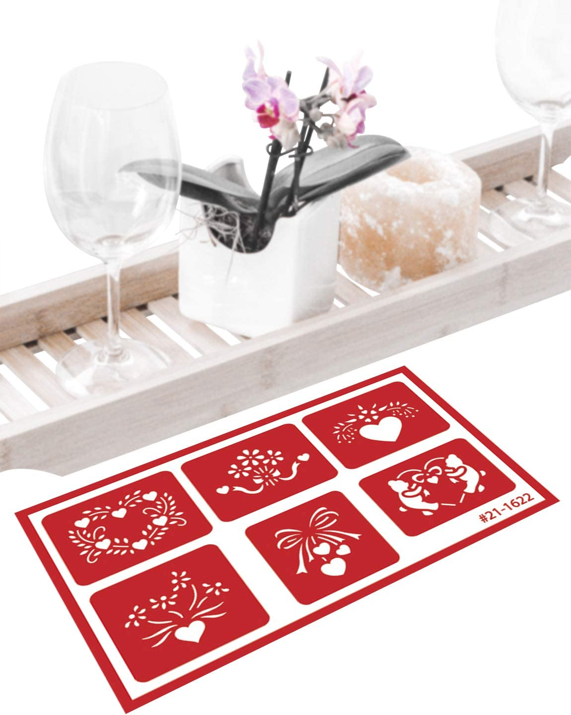 Total 5 Items Heart Floral Set Includes Brush Circle Borders and Patterns Theme Stencil Star 4 Armour Etch Over N Over Reusable Glass Etching Stencils