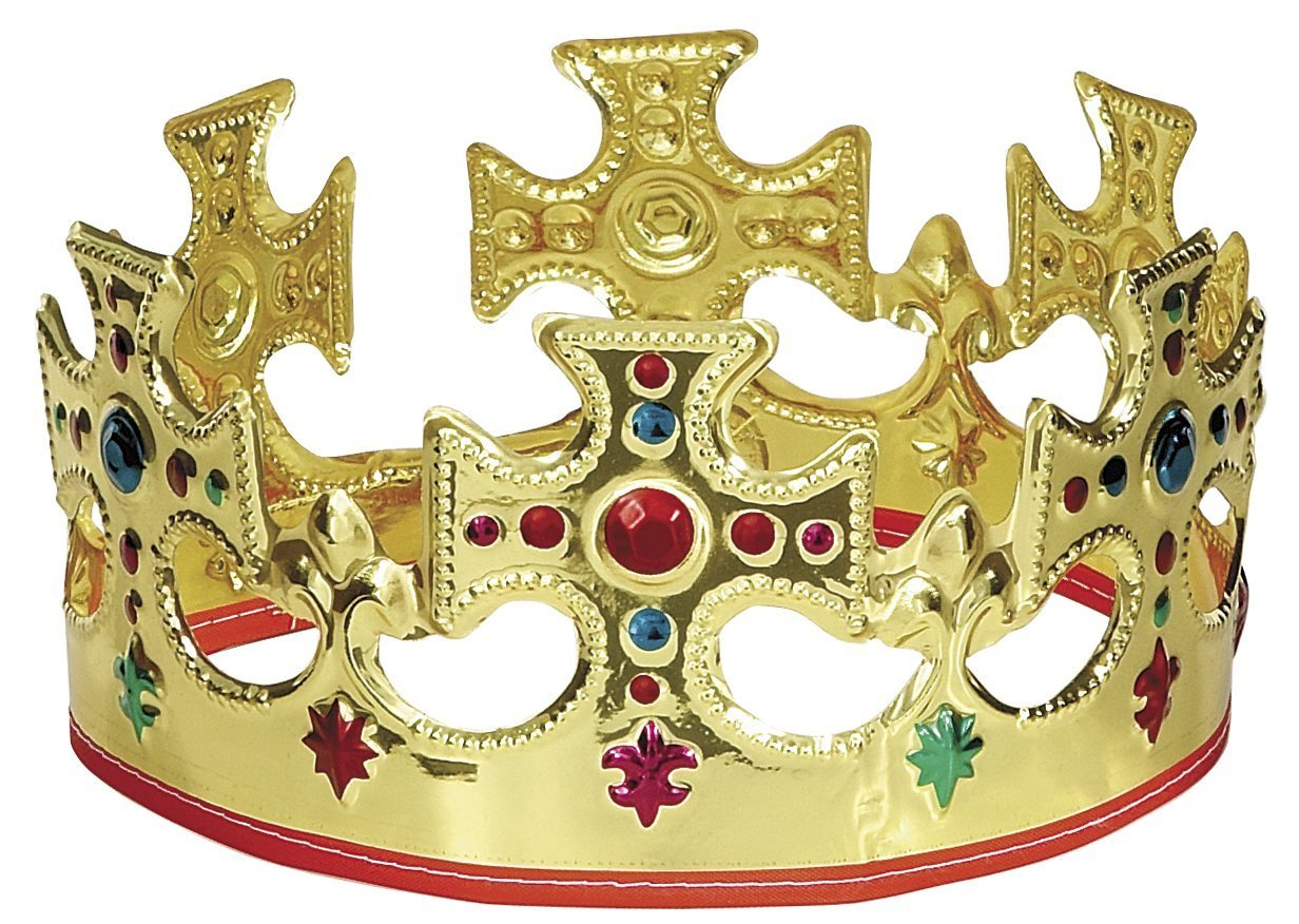 Unique Gold Plastic Jeweled King Crown 3 U-nique 8308