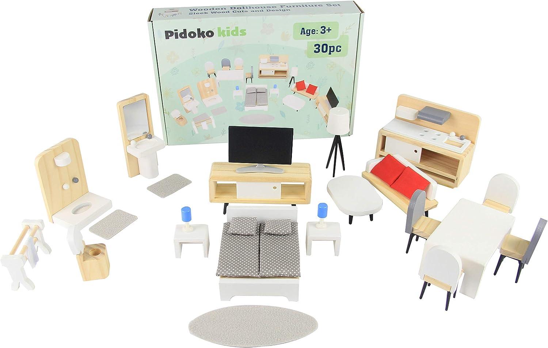 Pidoko Kids Dollhouse Furniture - 30 Pcs Wooden Accessories
