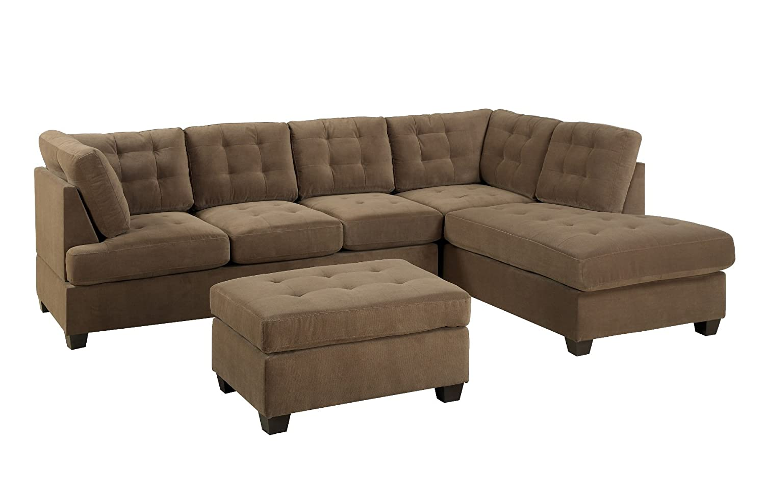 amazoncom bobkona michelson 3pieces reversible sectional chaise and loveseat with ottoman kitchen u0026 dining