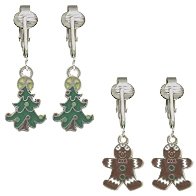 Amazon Com Fun Christmas Clip On Earrings For Kids Girls Festive