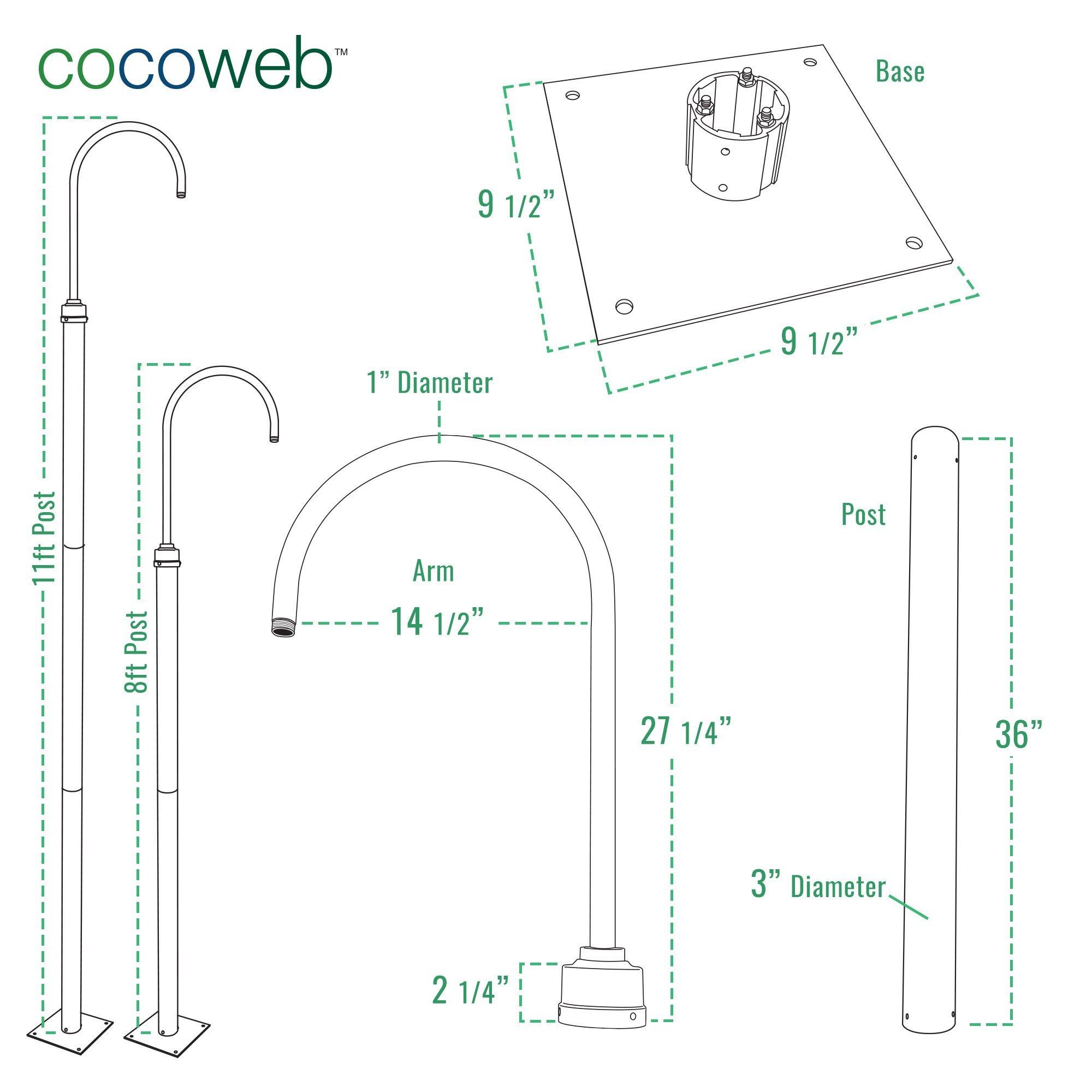 Cocoweb 8' Post for Cocoweb Brand Barn Lights