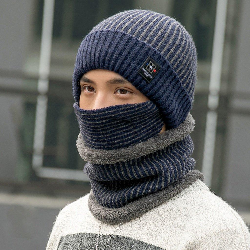 Macho cálido gorro de invierno cuello más gruesos Cortavientos Knit gorro orejeras con auriculares azul azul marino