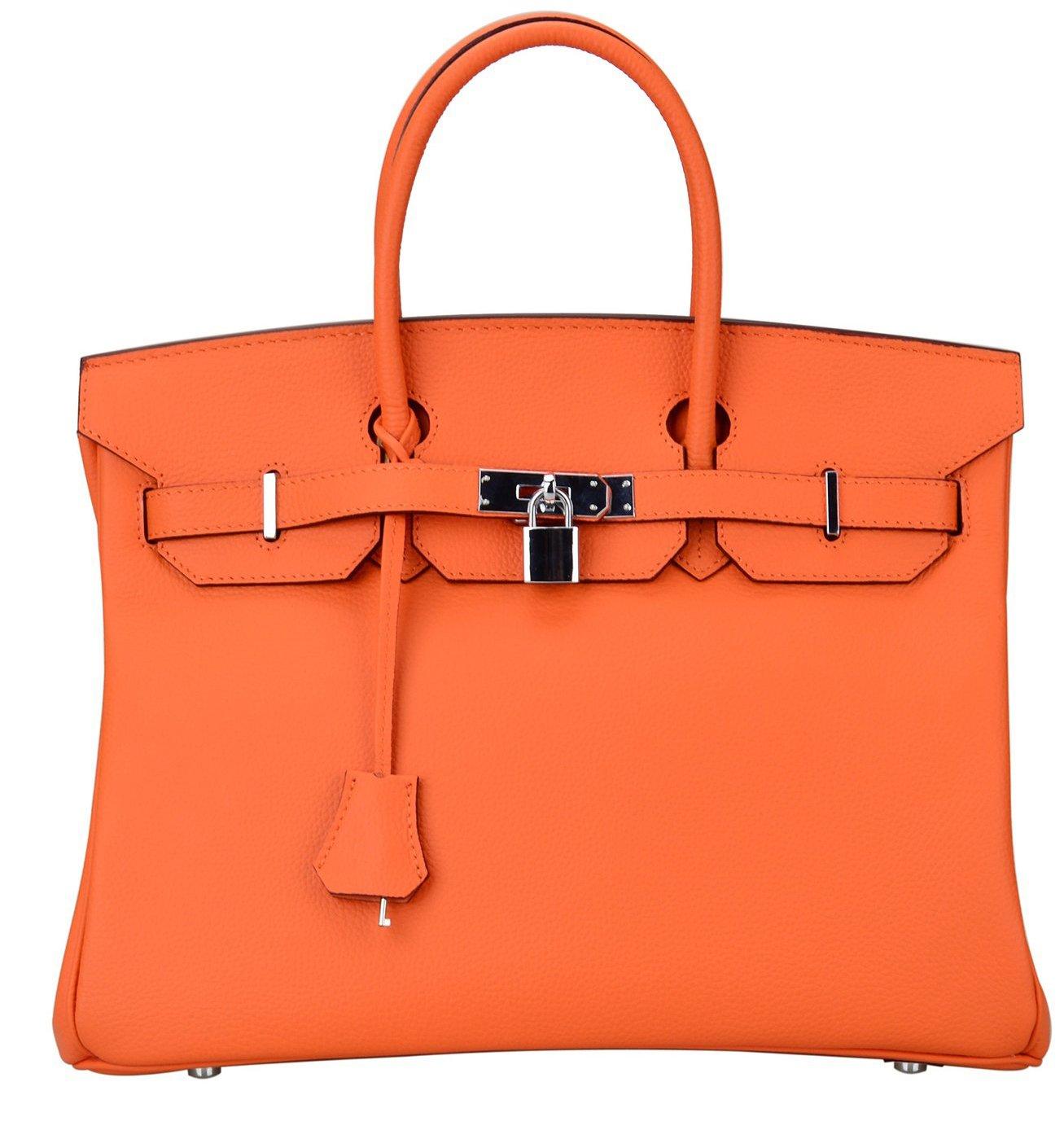 18df4a8922bc86 ... Top-Handle Bags · Ainifeel Women's Padlock Handbags with Silver  Hardware (35cm, Orange)