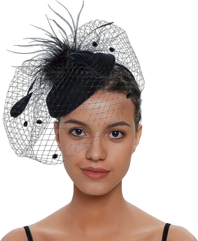 F FADVES Fascinator Hats for Women Pillbox Hat Net Fascinators Veil Headband and Hair Clip Tea Party Headwear