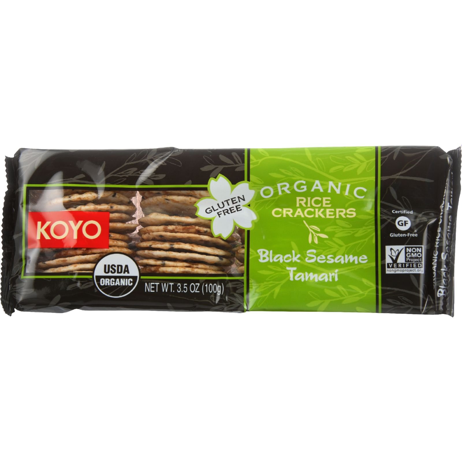 Koyo Organic Rice Crackers Black Sesame -- 3.5 Oz (Pack of 12)
