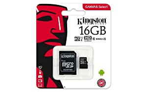 Kingston Canvas Select 16GB microSDHC Class 10 microSD Memory Card UHS-I 80MB/s R Flash Memory Card with Adapter (SDCS/16GB) (Color: Multicolor, Tamaño: 16GB)