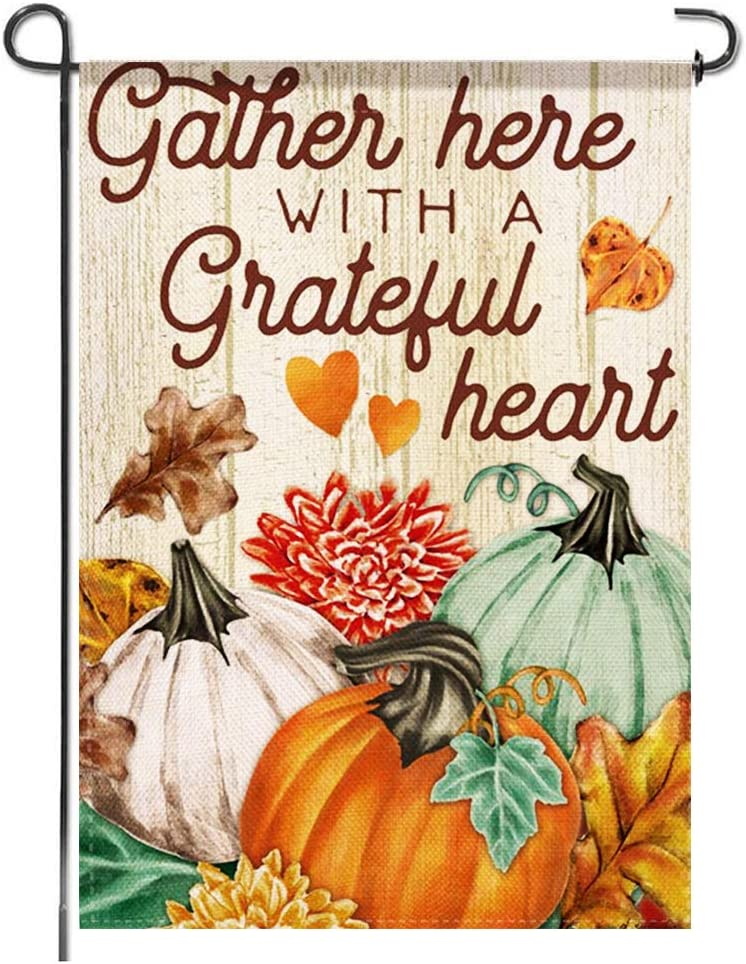 Tmtains Thanksgiving Garden Flag, Gather with Grateful Heart Pumpkin Fall Burlap Small Colorful Autumn Double Sided Seasonal Bunting Yard Patio Porch Lawn Outdoor Rustic Banner Decoration, 12x18 Inch