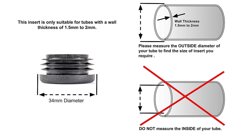 Inserts de Tube Fabriqu/é en Allemagne Embouts de tube ronds Noir, Diam/ètre 34mm - Avant de commander cette taille voir la deuxi/ème image, Pack de 24 Planeurs de meubles
