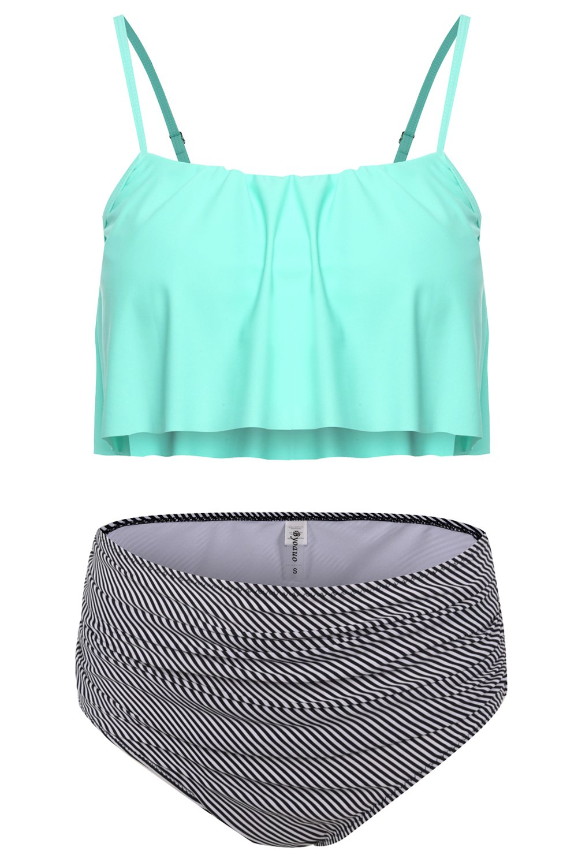 Byoauo Womens High Waist Bikini Swimsuits Two Piece Thin Shoulder Straps Plus Size Swimwear (M, Green)