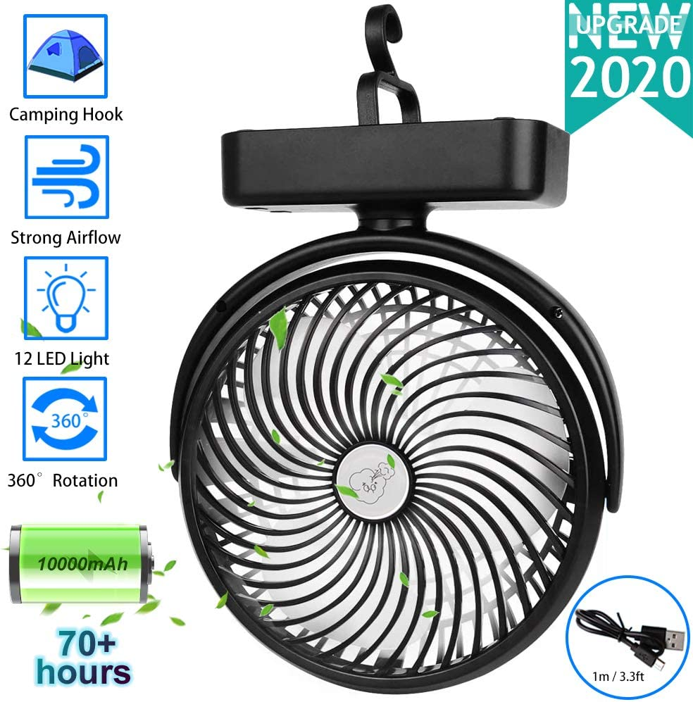 1000mAh Battery Operated Camping Fan With LED Lantern