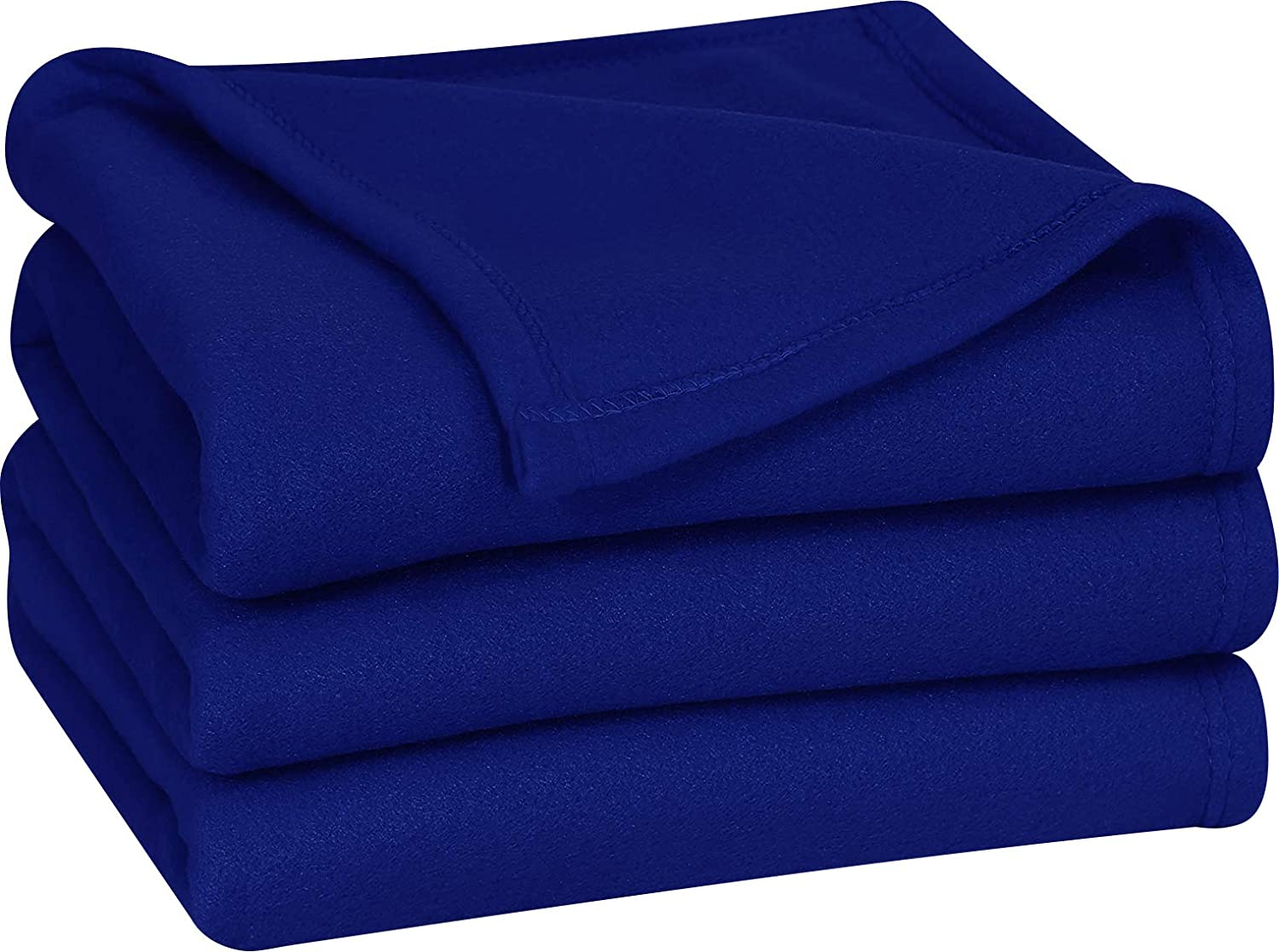 Polar Fleece Blanket (Twin, Navy) - Extra Soft Brushed Polyester Fabric - Lightweight and Durable Bed/Couch Blanket - Machine Washable