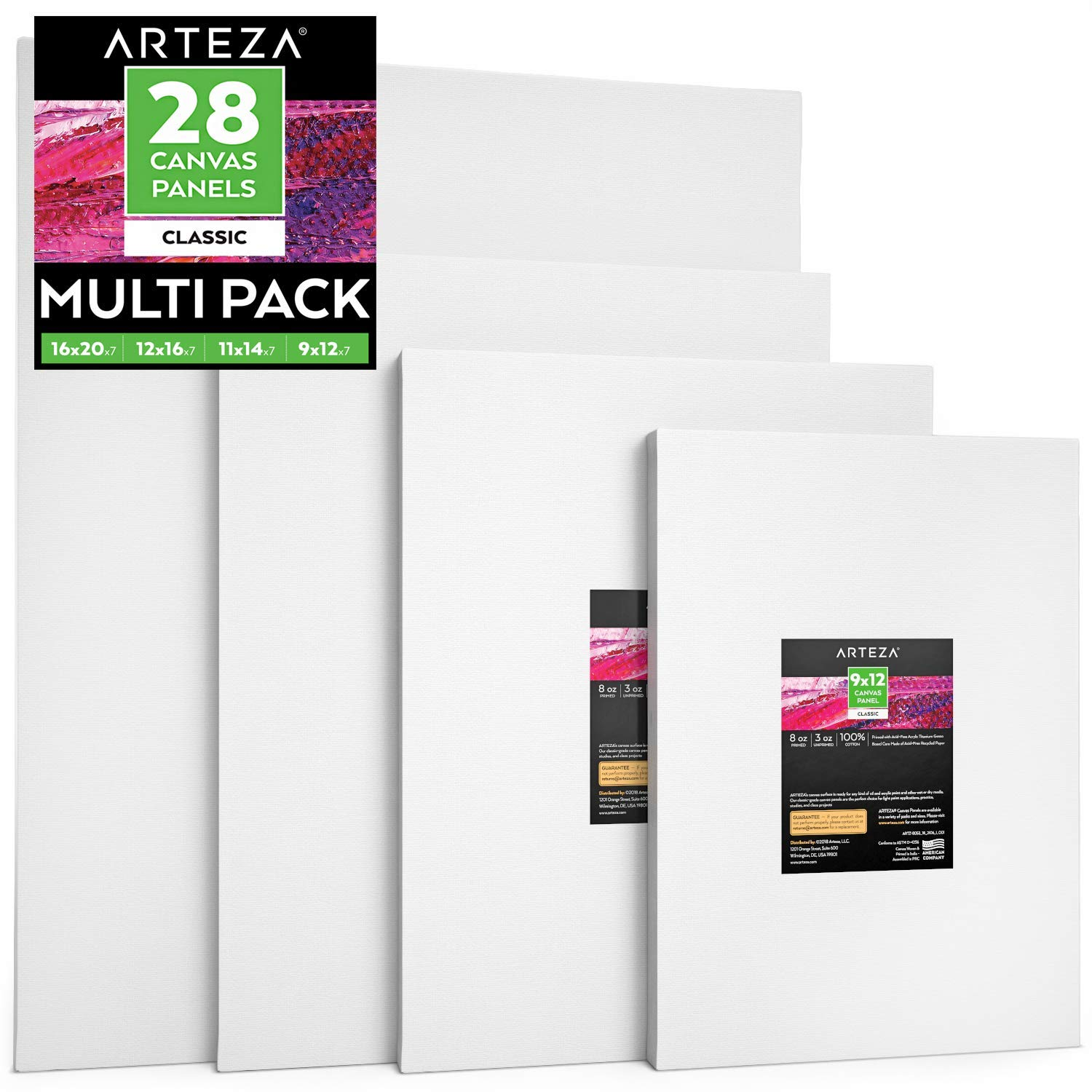 Arteza Painting Canvas Panels Multi Pack, 9x12'', 11x14'', 12x16'', 16x20'' Set of 28, Primed White, 100% Cotton with Recycled Board Core, for Acrylic, Oil, Other Wet or Dry Art Media, for Artists