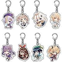 8Pcs Genshin Impact Cute Acrylic Keychain Japanese Anime Cartoon Key Charm Rings