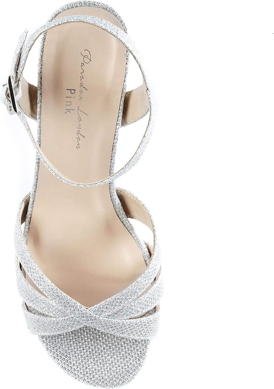 Paradox London Pink Colette, Sandales Bride Cheville Femme Argenté Silver 40