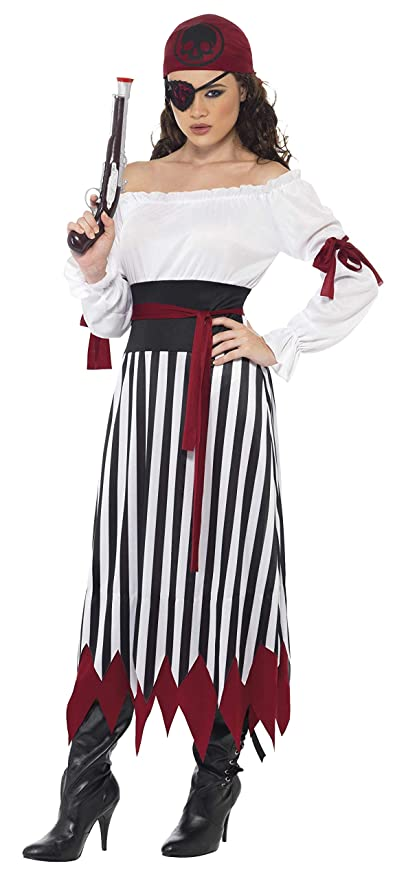 Smiffys Smiffys-20803S Disfraz de Mujer Pirata, Vestido con Tiras para los Brazos, cinturón y Elemento para la Cabeza, Color Negro y Blanco, S-EU ...