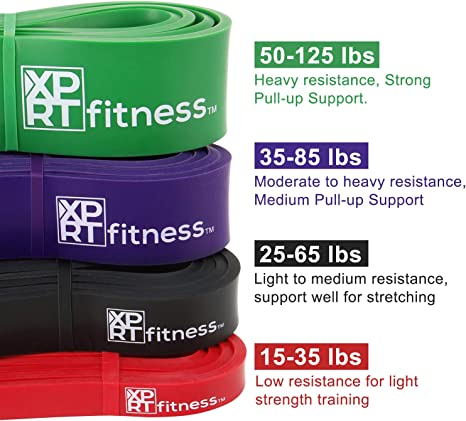 XPRT Fitness Pull Up Resistance Bands Set of 4 Stretch Powerlifting