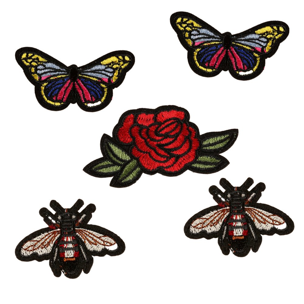 SOUTHYU 5-Pack Butterfly Bee Flower Iron On/Sew On Embroidery Patches DIY Decorative Applique Repairing Badges for Jeans Clothes Backpack Hat NanYu