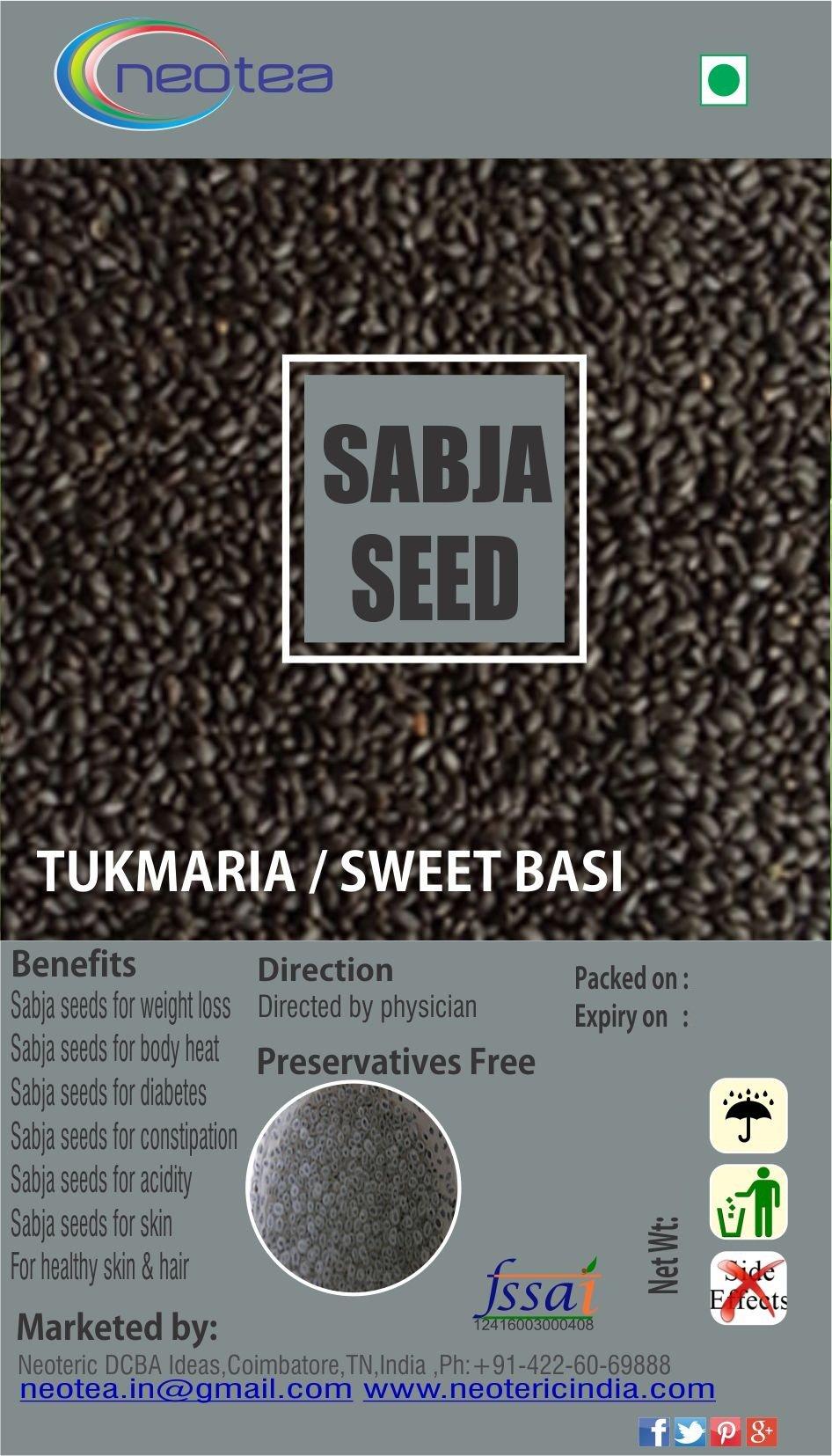 Neotea Basil Seeds | Tukmariya | Sabja Seeds, 300g by Neotea (Image #1)