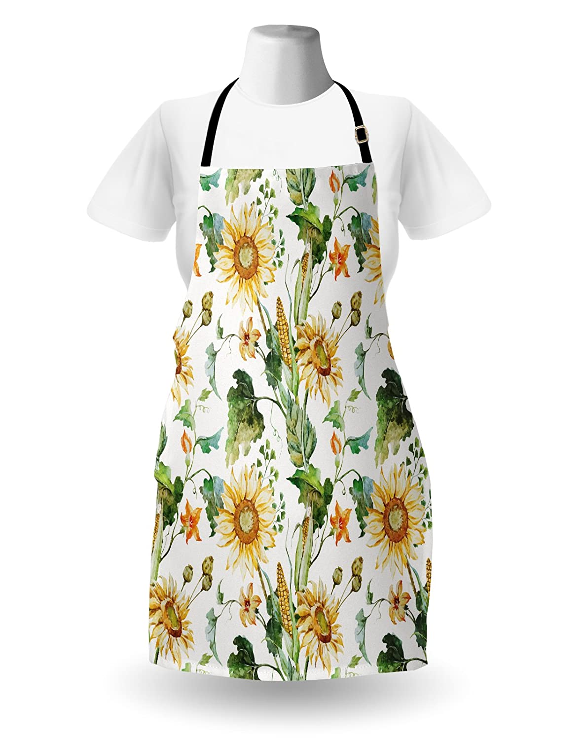 Multicolor Sunflower and Corn Pattern Agriculture Rural Plants Nature Closeup Classic Design Lunarable Sunflower Apron Unisex Kitchen Bib Apron with Adjustable Neck for Cooking Baking Gardening