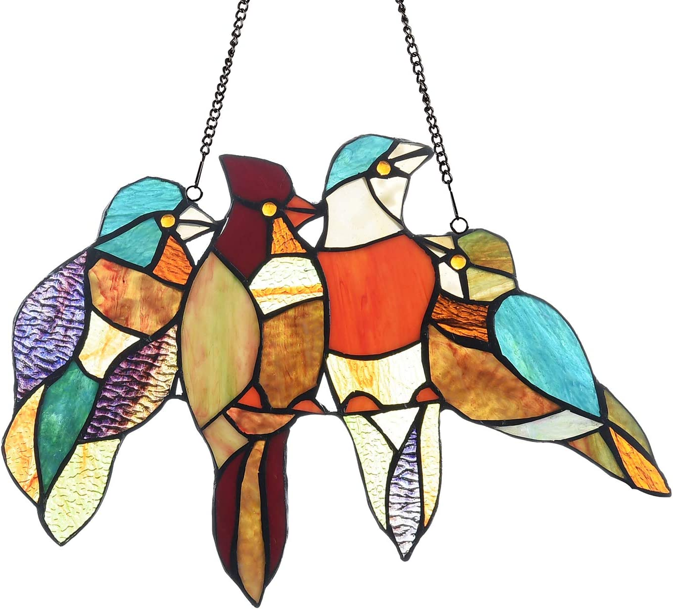 COTOSS Tiffany Stained Glass Window Hangings, 4 Birds on a Wire Stained Glass, Stained Glass Panels, Handcrafted Home Décor, Window Treatments, Art Glass Panel