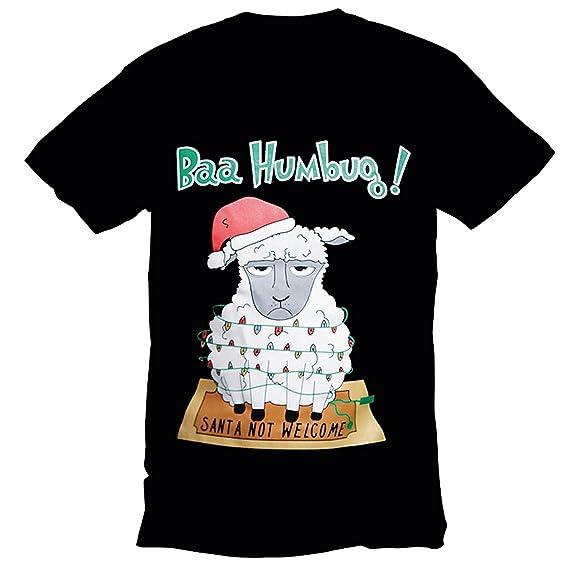CHRISTMASSHOP Christmas Shop - Camiseta navideña (S/Negro Texto Bah Humbug)