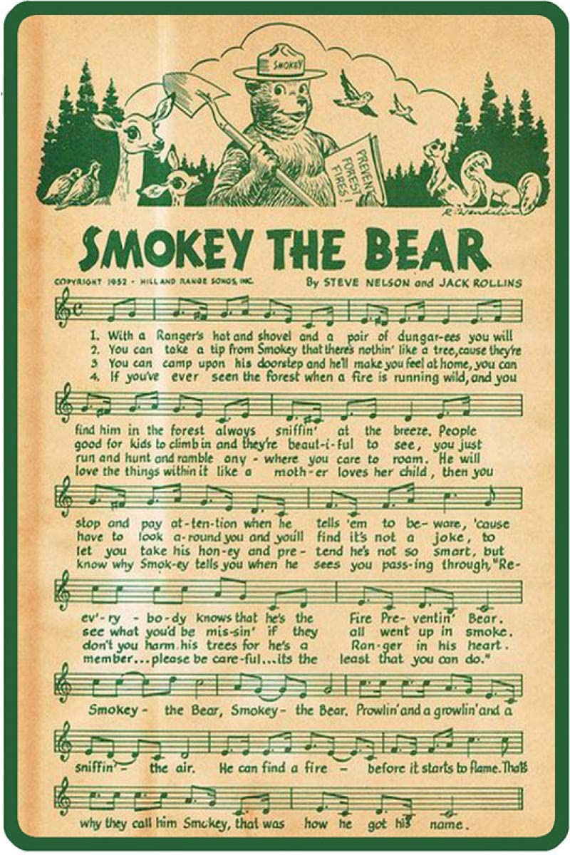 Smokey The Bear Music Score Retro Metal Tin Sign Vintage Aluminum Sign for Home Coffee Wall Decor 8x12 Inch