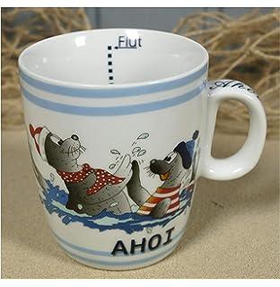 """Becher mit Seehund /""""Ahoi/"""" Ebbe+Flut Inhalt 0,3L Kaffeebecher Robbe Tasse maritim"""