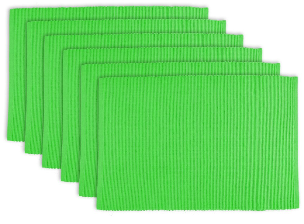DII 100% Cotton, Ribbed 13x 19'' Everyday Basic Placemat Set of 6, Green Apple by DII