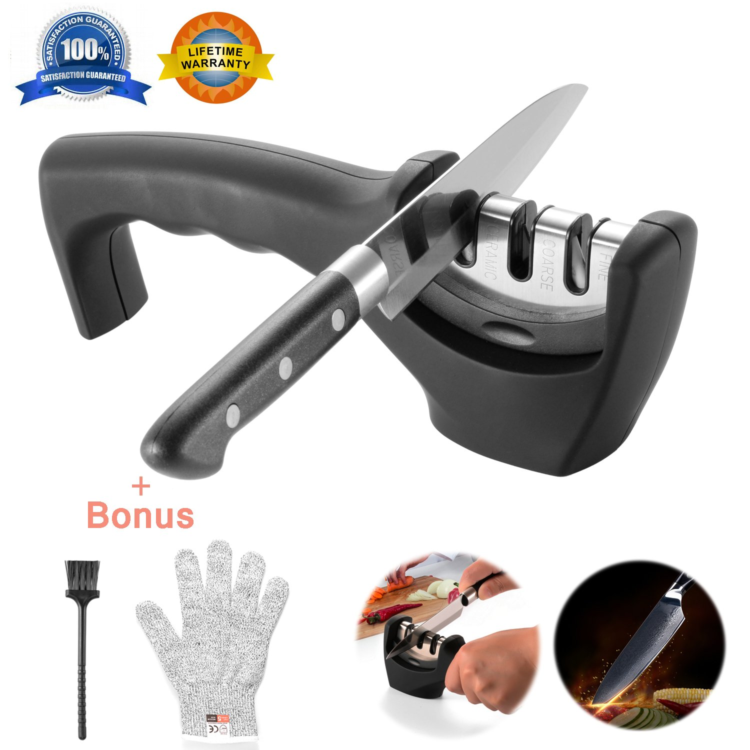Knife Sharpeners- Knife Sharpening Kit 3 Stage Steel Diamond Ceramic Coated Kitchen Knife Sharpener Tool with Cut Resistant Glove and Brush - Non-Slip ...