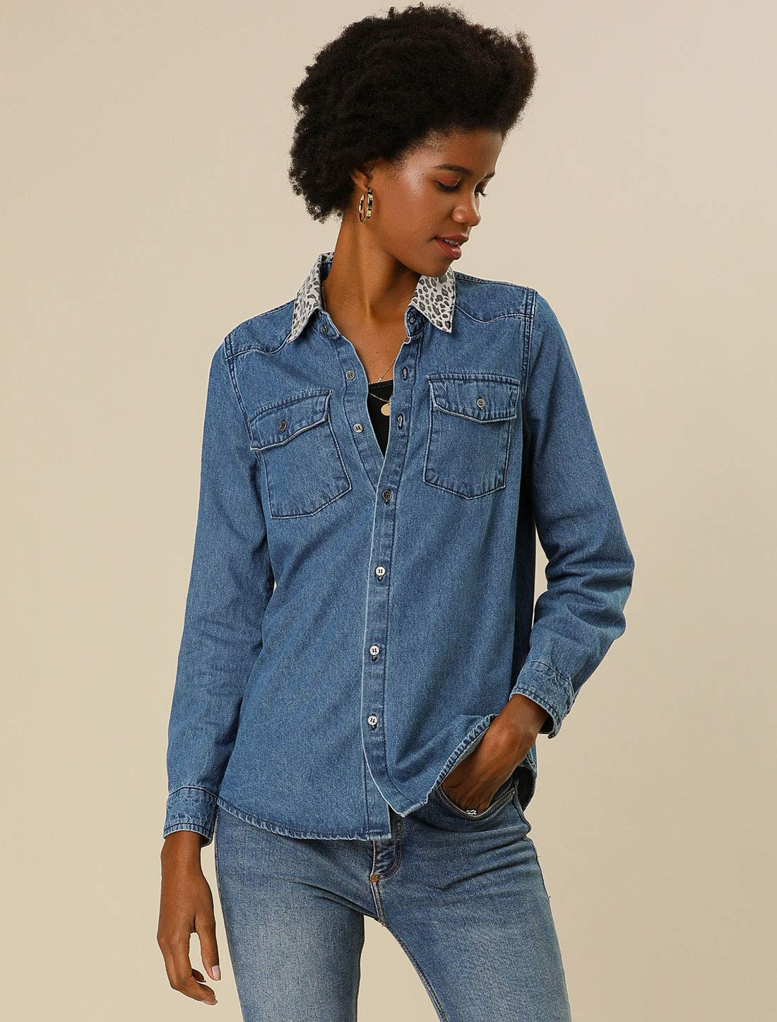 Women's Leopard Print Button Up Long Sleeves Jean Denim Shirt 5