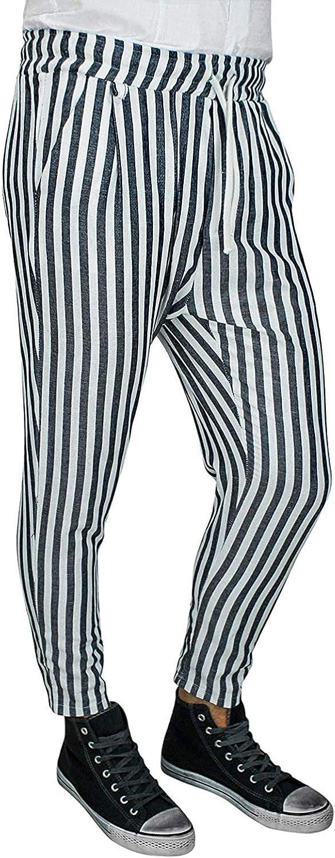 Evoga Pantalone Uomo di Lino Sartoriale Rigato Casual gessato 100/% Made in Italy