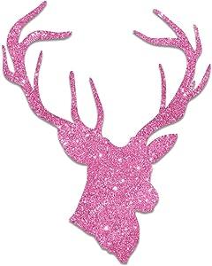 """Deer Buck Head Pink Glitter Country Girl Sticker 5"""""""