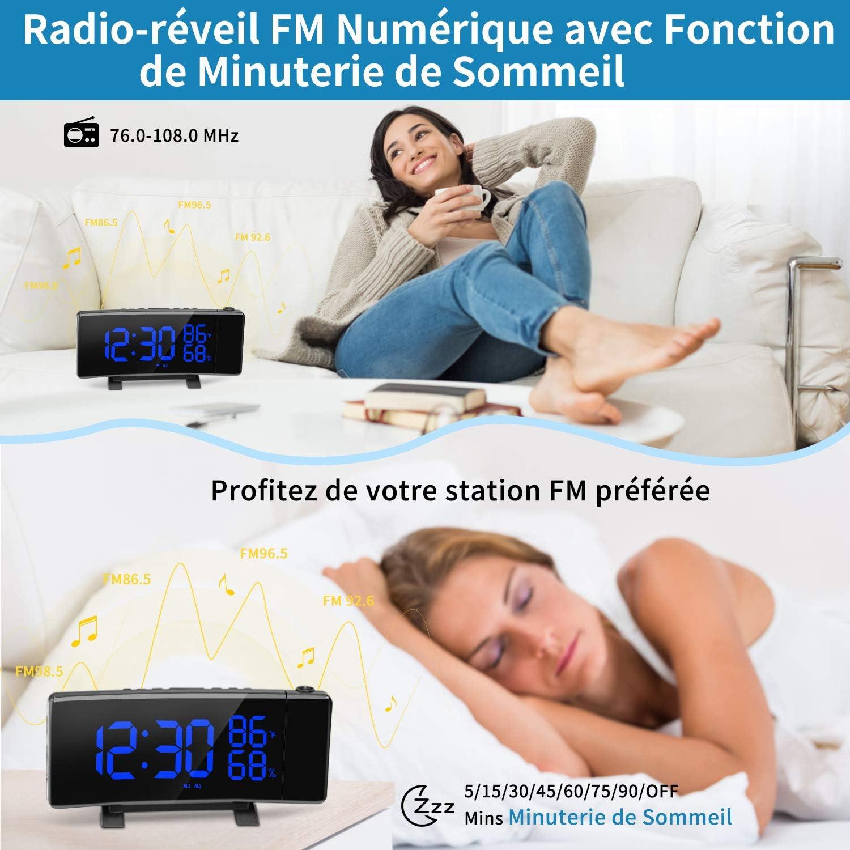 PEYOU Radio R/éveil /à Projection,Horloge Num/érique FM USB avec Double Alarmes,Commutation 3 Couleurs,Fonction Snooze,Minuterie Darr/êt,12//24H,Double Port USB,7  Grand /écran LED avec Dimmer