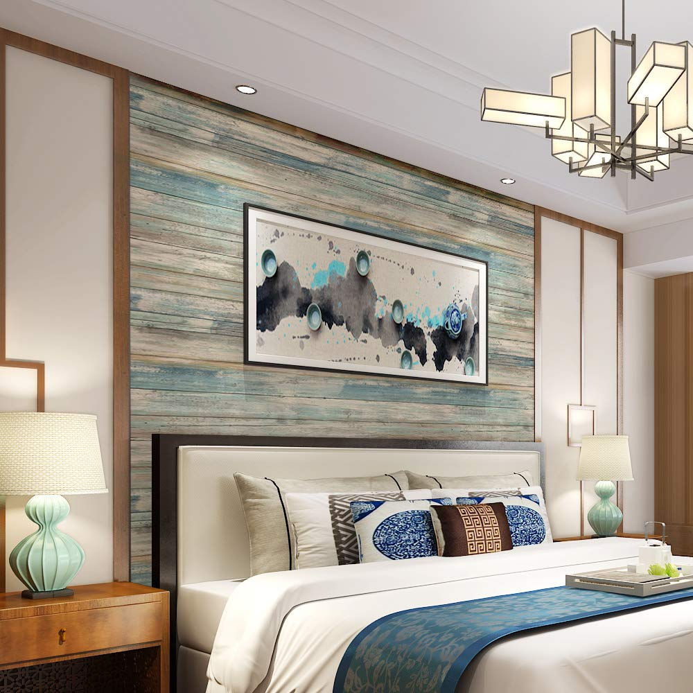 practicalWs Blue Distressed Wood Peel and Stick Wallpaper 17.71'' Wide x 236.2'' Long by practicalWs
