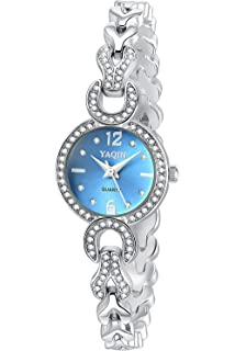 Inwet Cristal Elegante Mujer Reloj Analógico de Cuarzo, Azul Analógico Dial, Correa de Acero