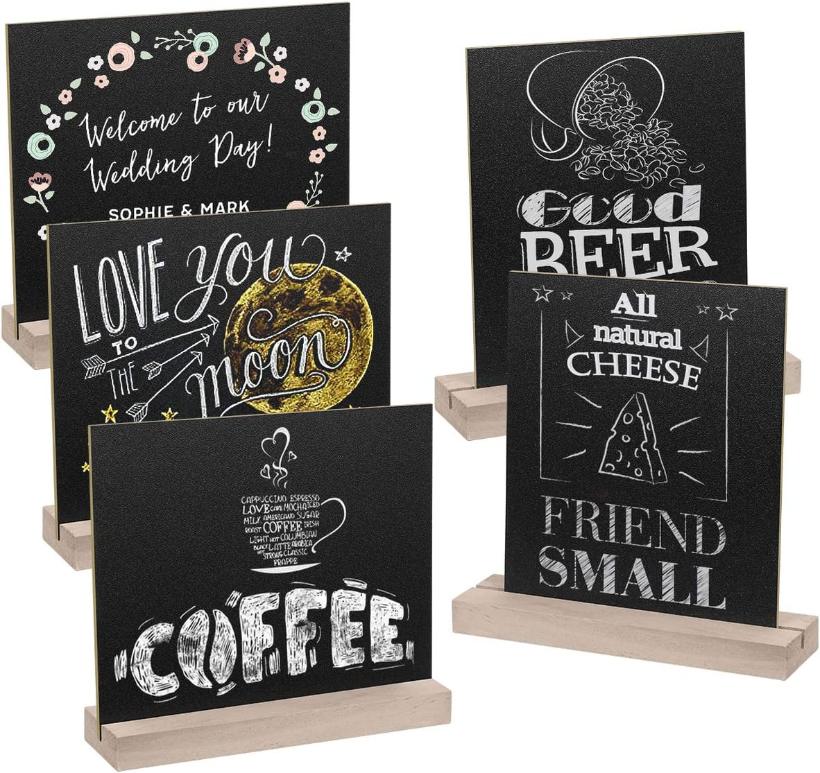 SUPVOX Tabletop Chalkboard Signs with Wood Stands Memo Sign for Party Restaurant Wedding 5 Sets