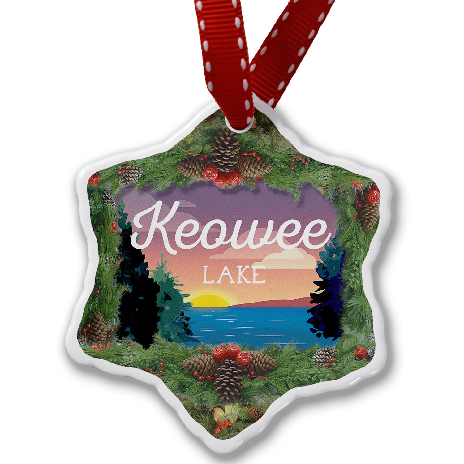 Christmas Ornament Lake retro design Lake Keowee - Neonblond