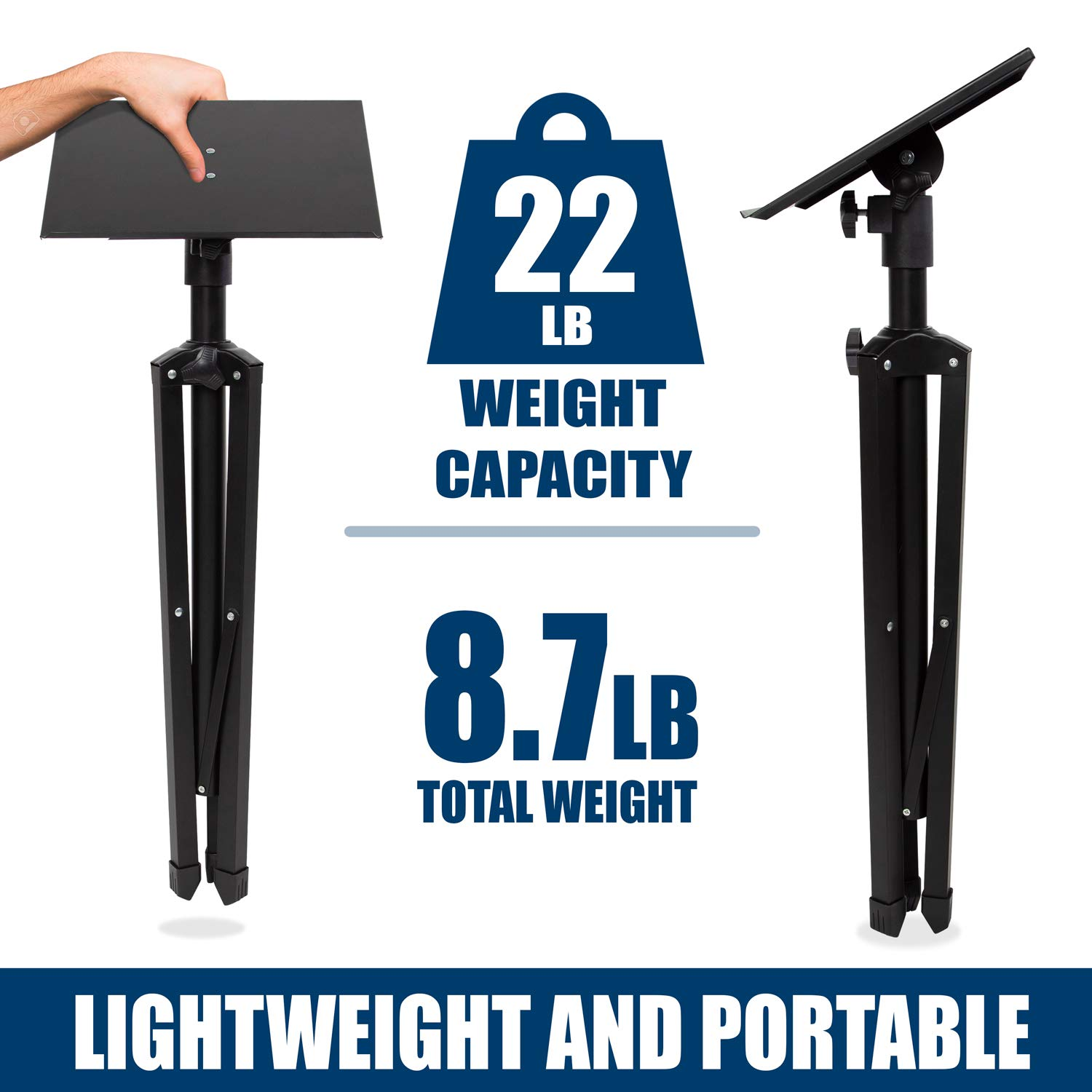 Mount-It! Tripod Projector Stand, Adjustable DJ Laptop Stand with Height and Tilt Adjustment, Portable Laptop Projector Table with Steel Tripod Base and Tray, Black by Mount-It! (Image #3)