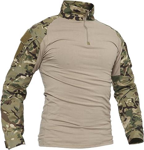 TACVASEN Ejército Hombres Militar Camisa Manga Larga Camuflaje Camo Camisetas: Amazon.es: Deportes y aire libre