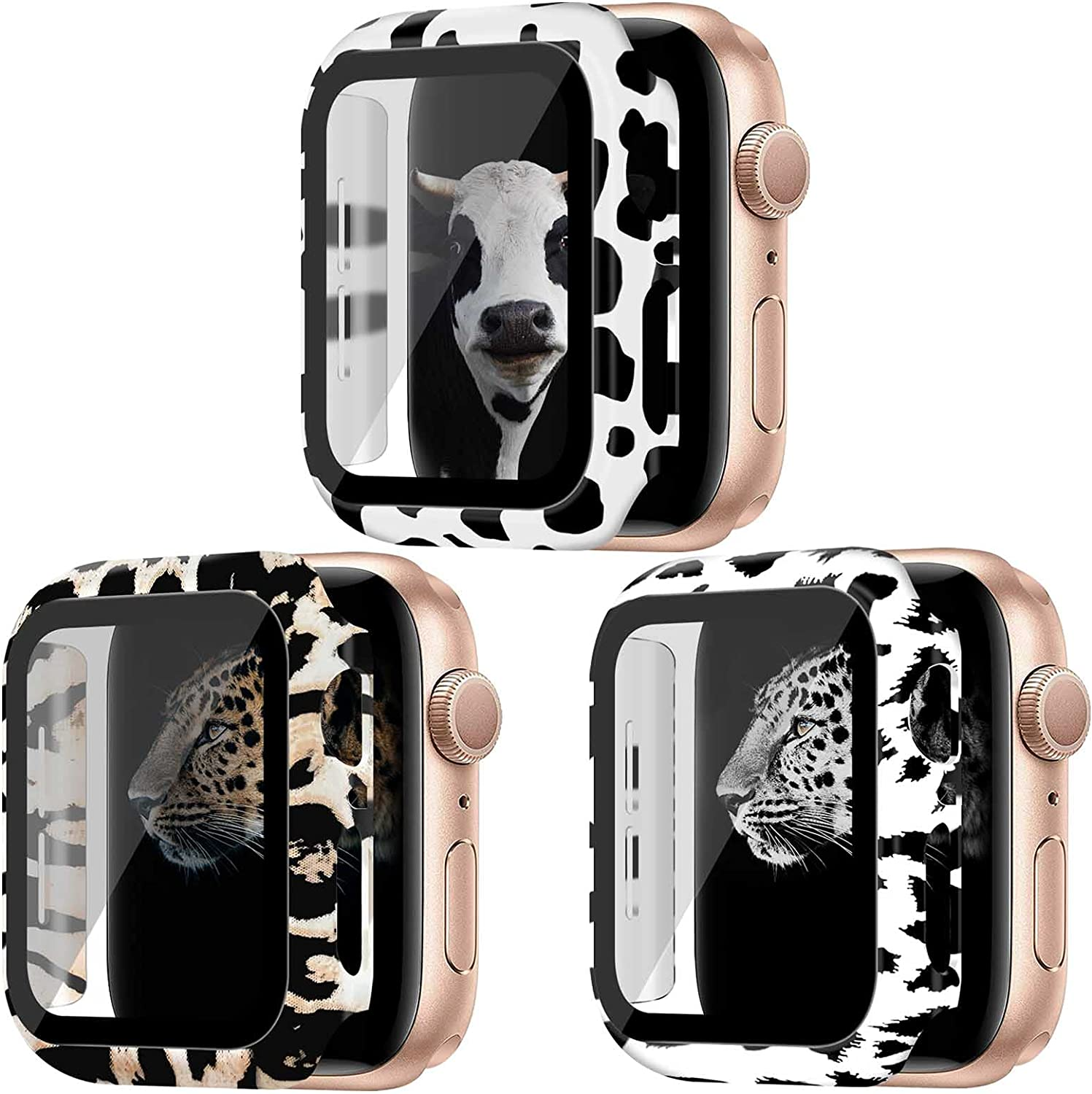 Kakurookie [3Pack] Leopard + Cow + Snow Leopard Pattern Case Compatible with Apple Watch Series 6/5/4/SE 40mm with Tempered Glass Screen Protector, Full Cover Ultra-Thin Bumper Protective Case