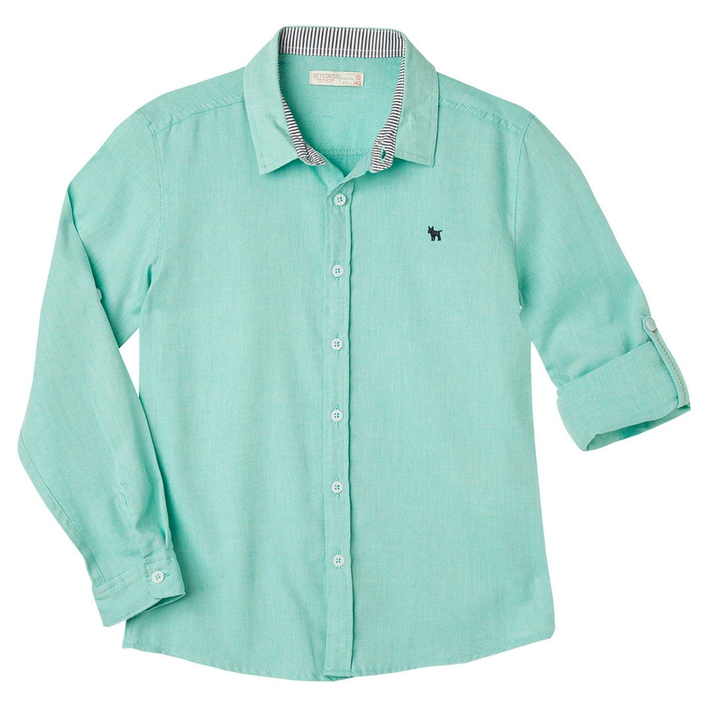 OFFCORSS Big Boys Long Sleeves Solid Colors Dress Button Down Slim Fit Cotton Dressy Shirt Collared Camisa Manga Larga de Vestir Niño Grande Green 6