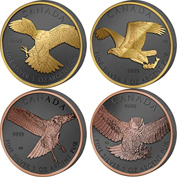 Eagle Hawk 2014-2015 Canada Birds of Prey 4 Coin Silver Set Falcon Owl