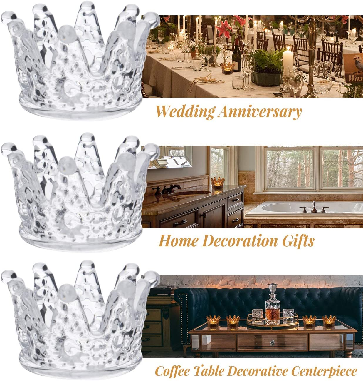 Crown Candle Holders for Wedding Decor and Home Decor Set of 6 CHAMBERY Glass Tealight Candle Holder