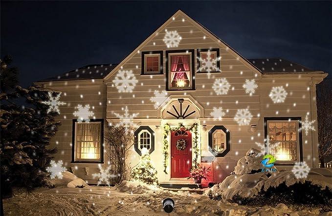 Illuminazione Esterna Natale : Proiettore led motivo fiocchi di neve illuminazione natalizia da