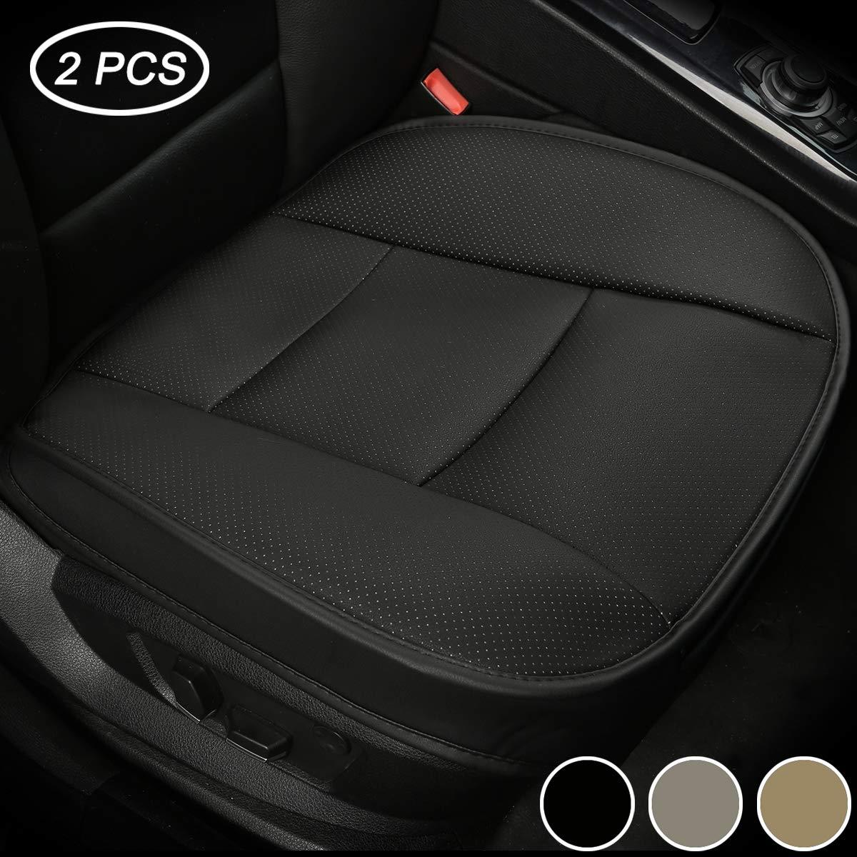 2 Pezzi Nero LUOLLOVE Coprisedili Universale Auto Anteriori Super Soft Confortevole Traspirante PU Protezione per Sedile Autoo