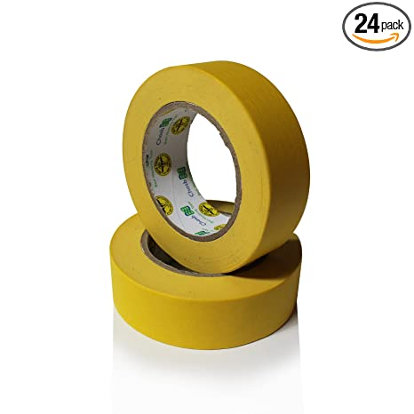 Insta Finish Performance Yellow Masking Tape 1 5 Inch X 60 Yards 1 Case Of 24 Rolls Crepe Paper Industrial Grade Easy Release Auto Body Tape