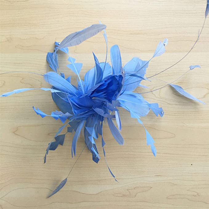 cd133e7e3cece Amazon.com  Periwinkle Fascinator Plumage Flowers Hair Decoration Handmade  Feather Art Stunning Addition for Special Occasion  Arts