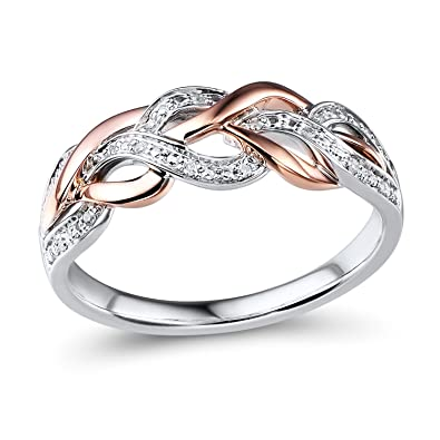 Ordinaire Diamond Wedding Anniversary Band 10k Rose Gold And Rhodium Plated Sterling  Silver
