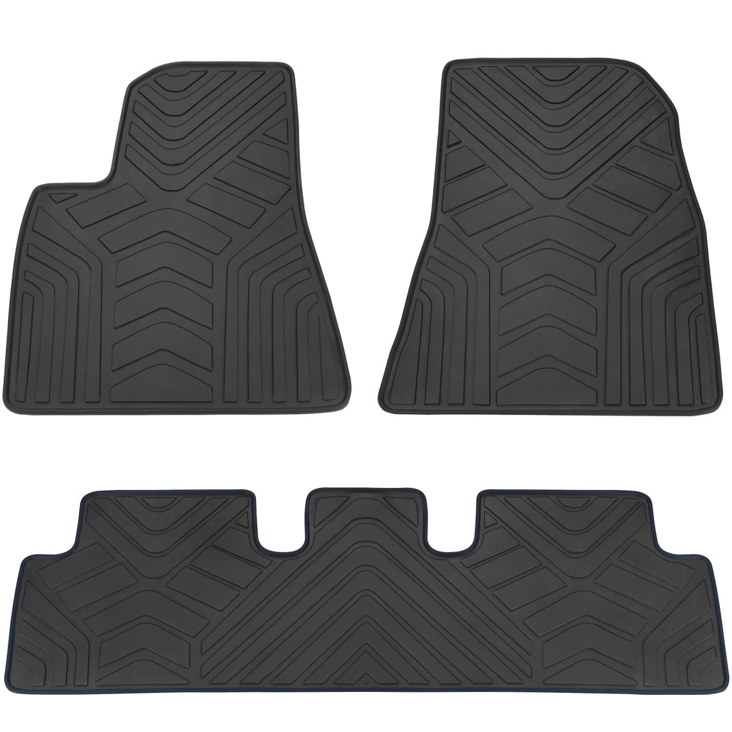 San Auto Car Floor Mats Custom Fit for Tesla Model 3 2017 2018 2019 2020 Full Black Rubber Car Floor Liners Set All Weather Protection Heavy Duty Odorless